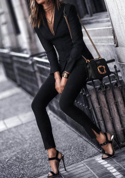 Black Pockets Elastic Waist Fashion Long Leggings