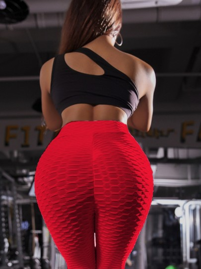 Red Wavy Edge Elastic High Waisted Sports Skinny Long Legging