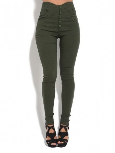 Army Green Buttons Pockets High Waisted Fashion Leggings