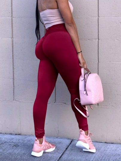 Wine Red Patchwork Lace High Waisted Sports Yoga Push Up Skinny Legging
