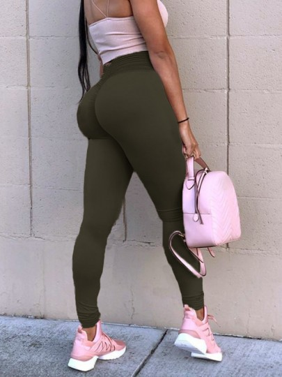Army Green Patchwork Lace High Waisted Sports Yoga Push Up Skinny Legging