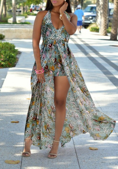 Multicolor Floral Print Backless Tie Back V-neck Short Jumpsuit With Maxi Overlay