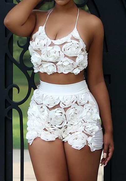White Flowers Tie Back Halter Neck Spaghetti Strap Two Piece Short Romper