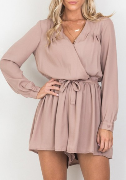 Apricot Drawstring Pleated High Waisted Elegant Long Sleeve Homecoming Party Romper Short Jumpsuit