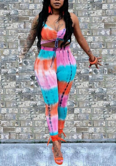 Pink Color Block Sashes Tie Dye Two Piece Spaghetti Strap Catsuit Deep V-neck Clubwear Long Jumpsuit