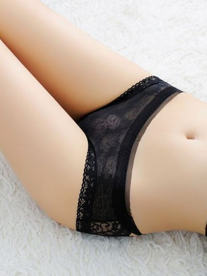 Black Patchwork Hollow-out Lace Bow Elastic Waist Sexy Shorts