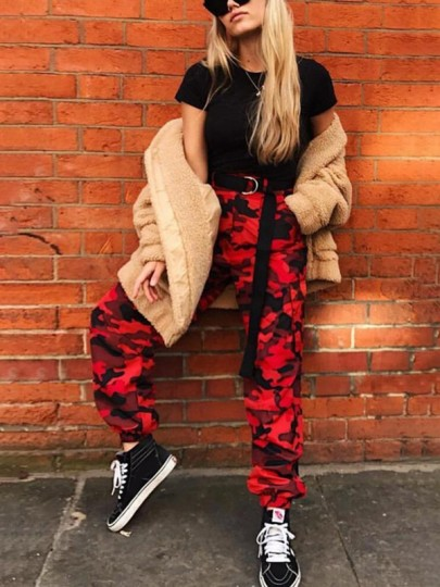 Red Camouflage Print Pockets Camo High Waisted Streetwear Long Cargo Jumpsuit