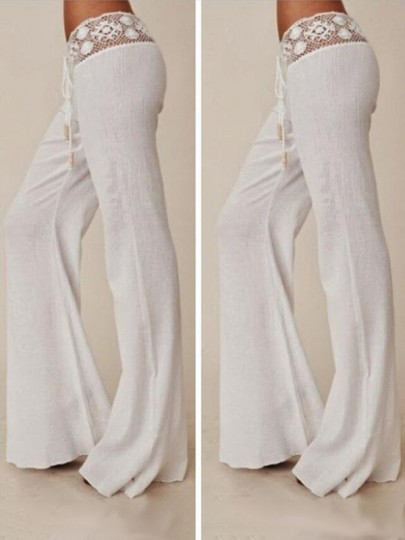 White Patchwork Lace Drawstring Waist Casual Wide Leg Long Pants