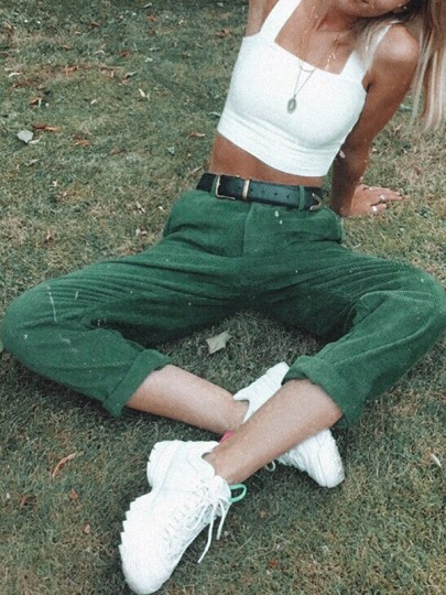 Green Pockets Buttons High Waisted Straight Leg Mon Casual Corduroy Pant