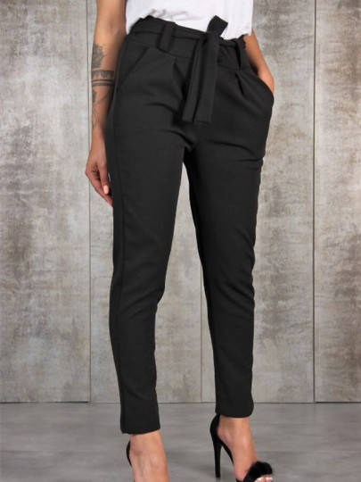 Black Belt Pockets Mid-rise Casual Nine's Pants