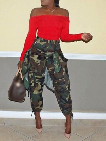Army Green Camouflage Pockets High Waisted Button Hippie Haren Casual Cargo Long Pants