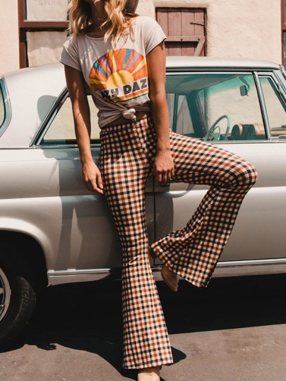 Red-Black Plaid Casual High Waisted Bell Bottom Retro Christmas Long Flare Pants