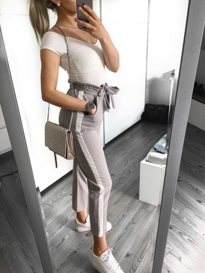 Light Grey Striped Pockets Sashes High Waisted Fashion Nine's Pants