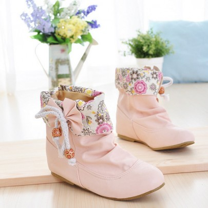 Pink Round Toe Flat Bow Floral Print Sweet Ankle Boots