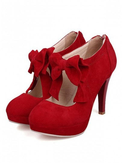 Red Round Toe Stiletto Bow Fashion Cute High-Heeled Shoes