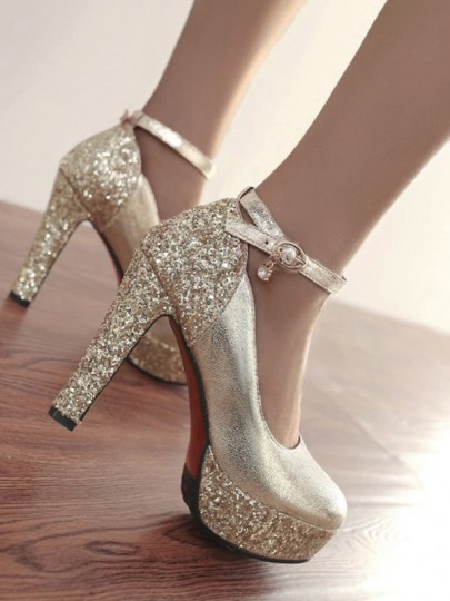 Golden Round Toe Chunky Sequin Fashion High-Heeled Shoes