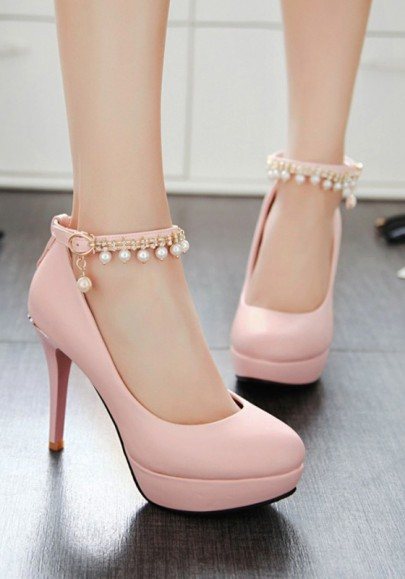 Pink Round Toe Stiletto Pearl Fashion High-Heeled Shoes