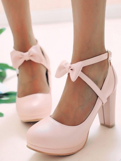Pink Round Toe Chunky Platform Pumps Bow Buckle Sweet Prom High-Heeled Shoes