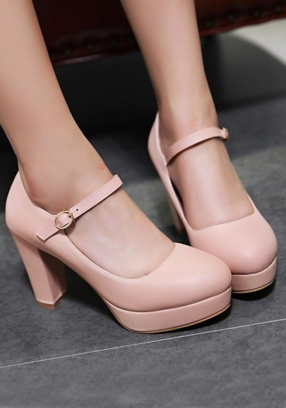 Pink Round Toe Chunky Buckle Casual High-Heeled Shoes