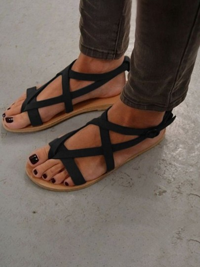 Black Round Toe Flat Buckle Casual Ankle Sandals