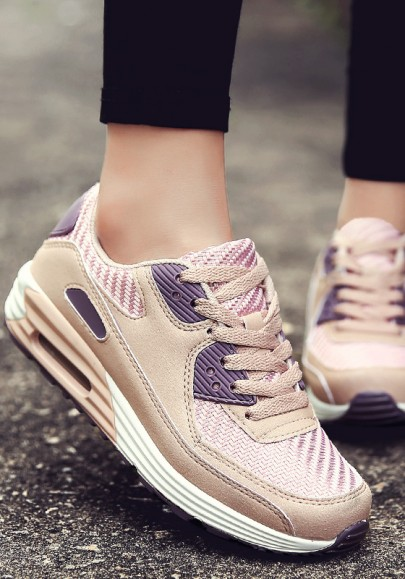 Pink-Purple Round Toe Lace-up Casual Shoes