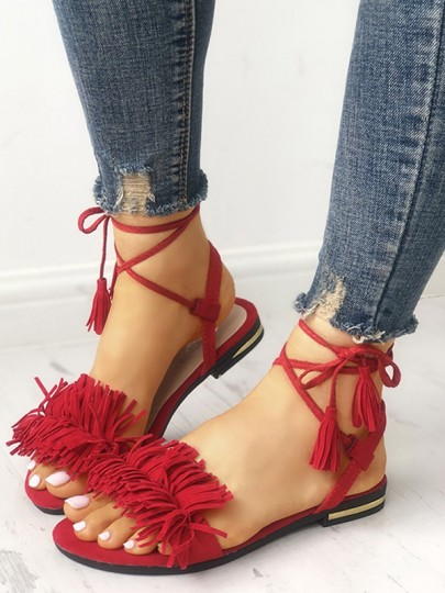 Red Round Toe Cross Strap Flat Tassel Fashion Beach Ankle Sandals