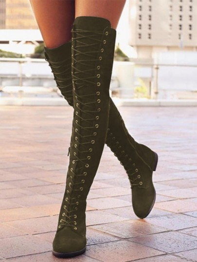 Army Green Round Toe Lace-up Over-The-Knee Fashion Boots