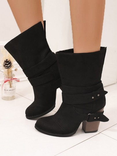 Black Round Toe Belt Buckle Chunky Fashion Boots