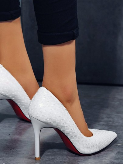 White Point Toe Stiletto Fashion High-Heeled Shoes