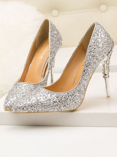 Silver Point Toe Stiletto Sequin Fashion Prom Wedding Evening High-Heeled Shoes