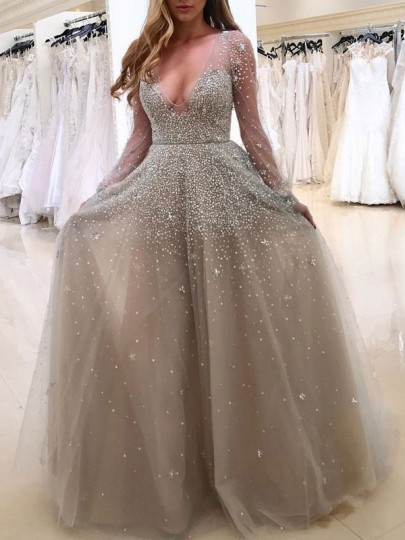 Grey Sequin Glitter Fluffy Puffy Tulle V-neck Long Sleeve Elegant Wedding Gowns Maxi Dress