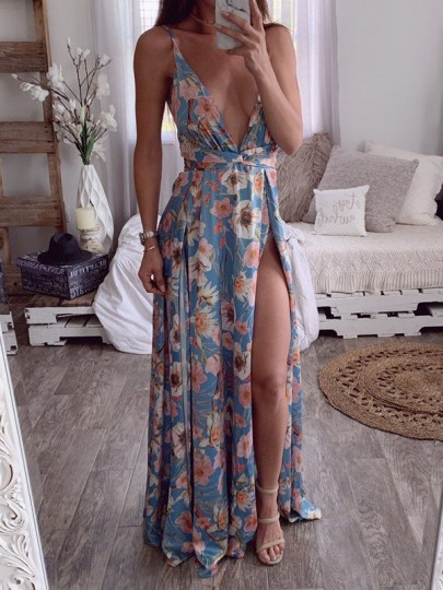 Blue Floral Print Draped Double Slit Backless Deep V-neck Bohemian Maxi Dress