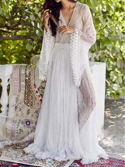 White Lace Draped Backless V-neck Bell Sleeve Elegant Beach Cover Up Maxi Dress