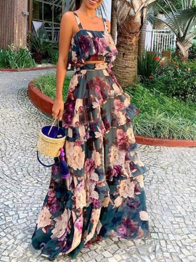 Purple Floral Cascading Ruffle Two Piece Chiffon Flowy Banquet Prom Party Bohemian Beach Maxi Dress