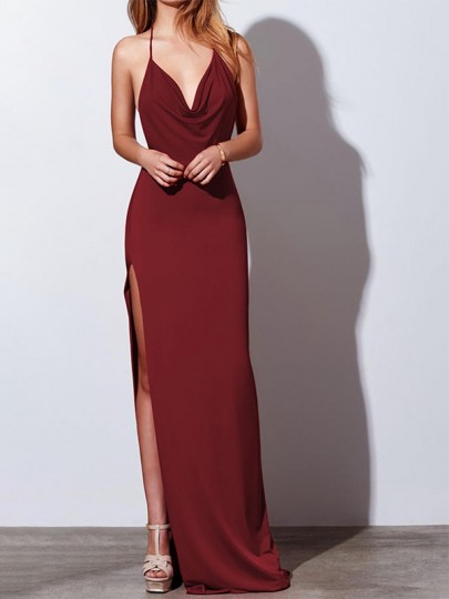 Burgundy Draped Side Slit Halter Neck Backless V-neck Elegant Maxi Dress