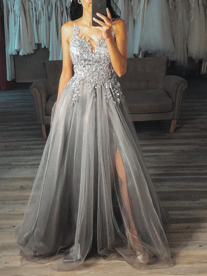 Grey Patchwork Grenadine Spaghetti Strap Deep V-neck Banquet Wedding Prom Party Maxi Dress