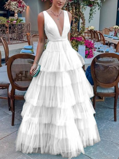 White Patchwork Cascading Ruffle Deep V-neck Backless Banquet Wedding Party Maxi Dress