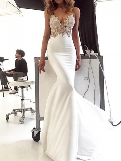 White Patchwork Lace Spaghetti Strap Bodycon Mermaid V-neck Prom Evening Party Maxi Dress