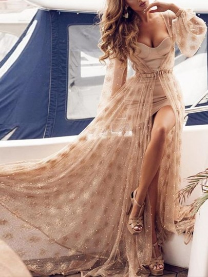 Apricot Patchwork Grenadine Glitter Sparkly Long Sleeve Two Piece Elegant Party Maxi Dress