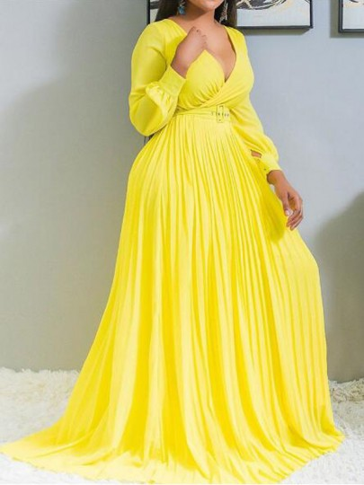 Yellow Pleated Deep V-neck Belt Lantern Sleeve Ruched Flowy Party Maxi Dress