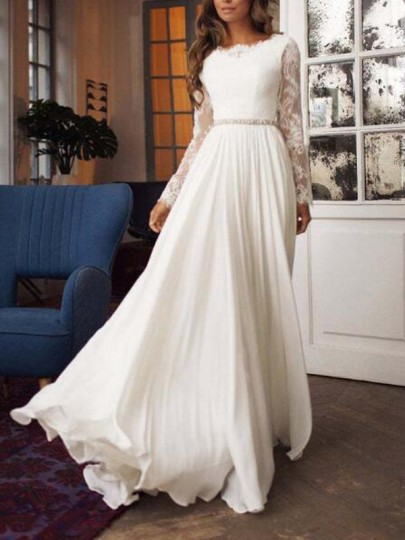 White Patchwork Lace Long Sleeve Backless Wedding Banquet Party Maxi Dress