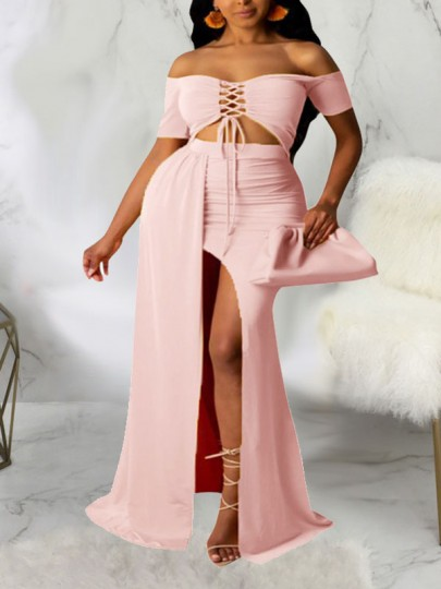 Pink Off Shoulder Lace-up Two Piece Thigh High Side Slits Bohemian Beach Party Maxi Dress