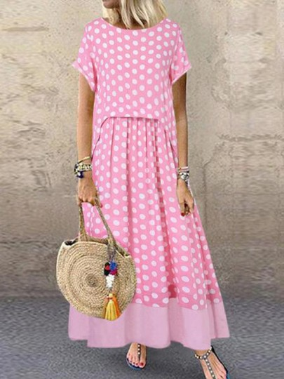 Pink-White Polka Dot Draped Two Piece Flowy Big Swing Bohemian Maxi Dress