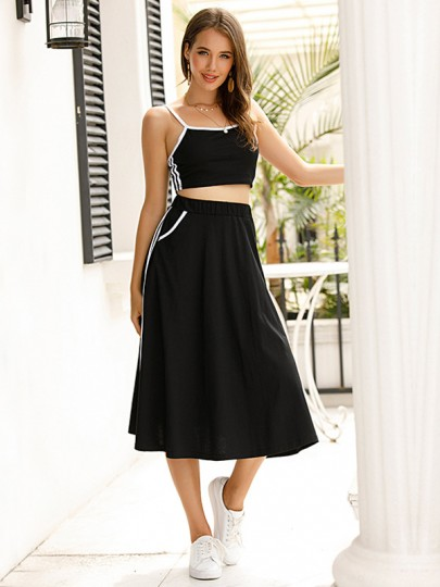 Black Two Piece High Waisted Cute Maxi Dress