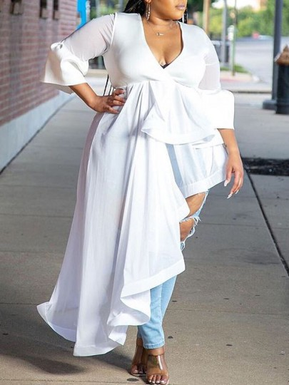White Cascading Ruffle Pleated Irregular High-Low Plus Size Party Maxi Dress
