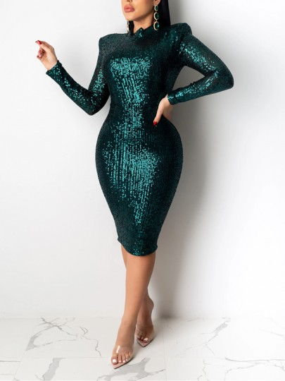Green Patchwork Sequin Bodycon Sparkly Glitter Birthday Party Maxi Dress