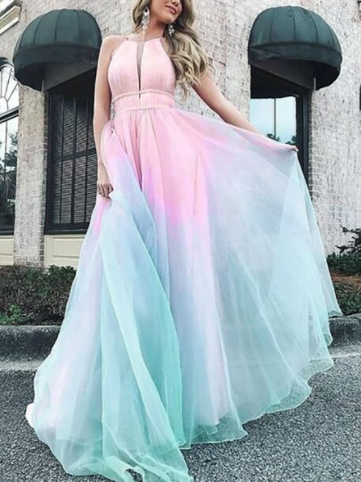 Pink Patchwork Cut Out Gradient Color Halter Neck Backless Big Swing Bohemian Maxi Dress