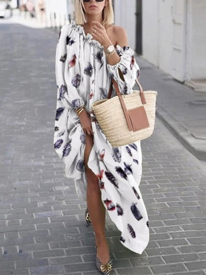 White Floral Feather Off Shoulder 3/4 Sleeve Fashion Maxi Dress