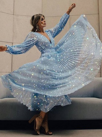 Blue Patchwork Sequin Pleated V-neck Long Sleeve Fashion Sparkly Maxi Dress