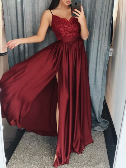 Wine Red Patchwork Lace Draped Spaghetti Strap V-neck Slit Banquet Maxi Dress